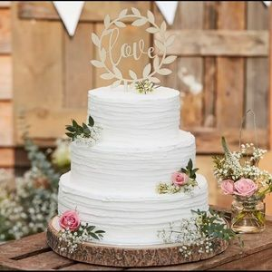 NWT Love Wooden Wedding Cake Decoration Topper